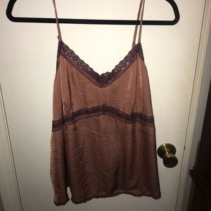 Lace and silk tank top